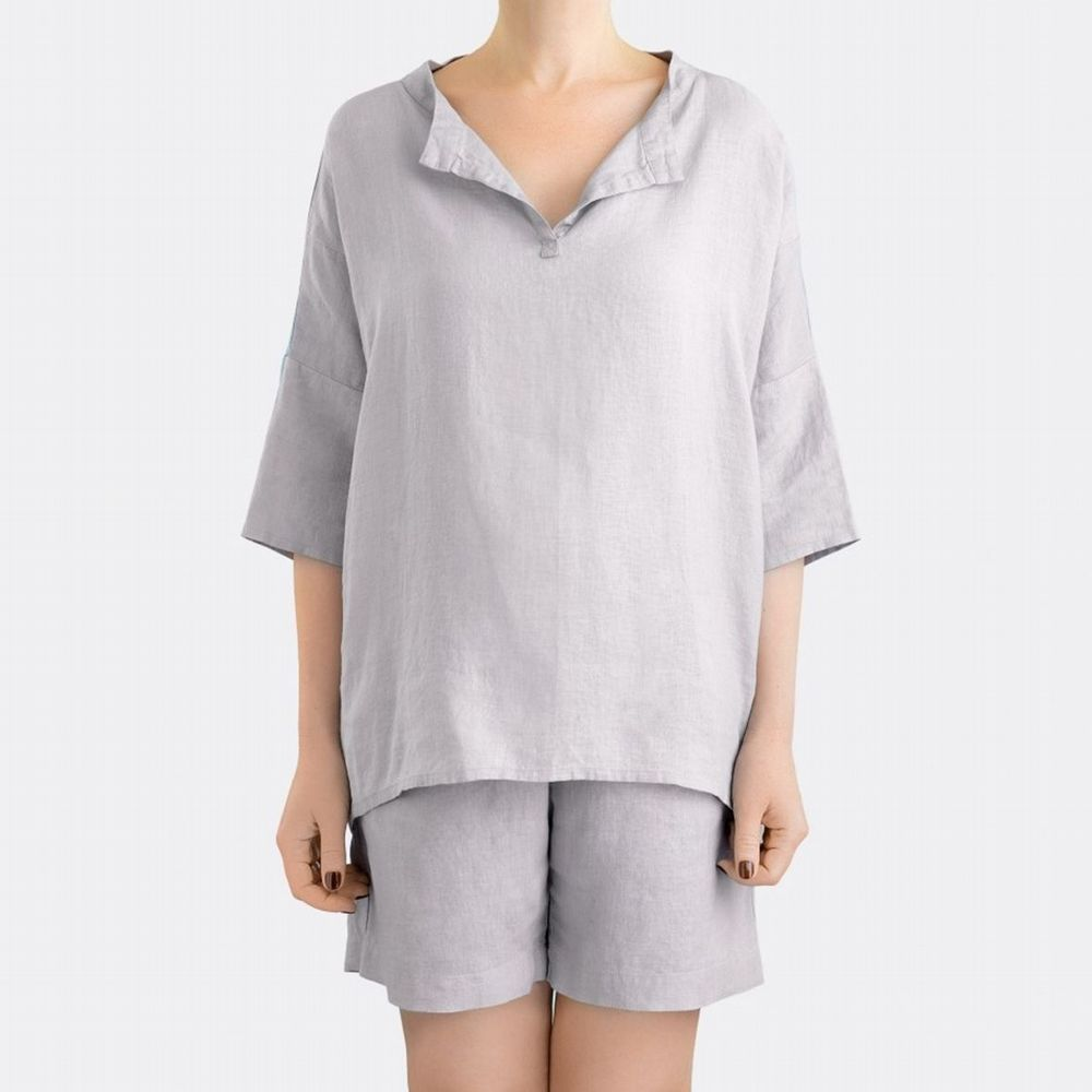 Linen Sleepwear - Pyjamas With Shorts - 2 Colours Available